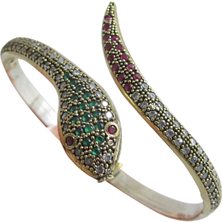 Sterling silver paste snake bangle bracelet Vintage c1980.