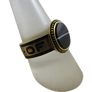 Inscribed enamel 'In Memory Of' banded agate 18k 18ct gold locket mourning ring antique victorian 1876 English hallmarks.