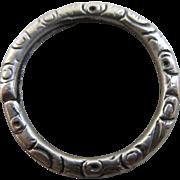 Embossed sterling silver split ring 1.7cm diameter antique Victorian c1840.