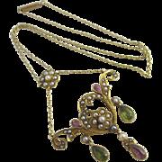 Suffragette 15k gold dangling pendant necklace antique Edwardian c1910.