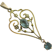 Blue paste 9k gold dangling pendant lavalier antique Victorian c1890.