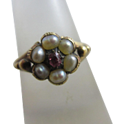 Ruby seed pearl 15k gold locket mourning ring antique Victorian c1860.