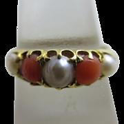 Coral pearl 18k gold ring antique Victorian 1864 English hallmark.