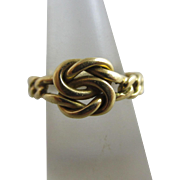 18k gold lovers knot ring vintage Art Deco c1920.