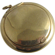 9k gold powder compact pendant vintage Art Deco 1926 English hallmark.