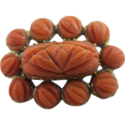 Carved coral 9k gold mourning hair locket brooch pin antique Georgian c1820.