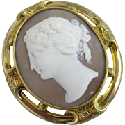 Real shell cameo 18k gold cased brooch pin antique Victorian c1840.