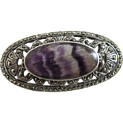 Blue john sterling silver marcasite brooch pin Vintage c1950.