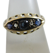 9k gold Chester English hallmark sapphire spinel diamond ring antique Edwardian 1913.