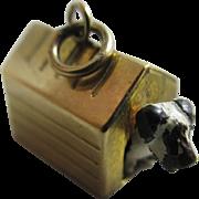 Enamel dog 9k gold dog kennel pendant charm Vintage c1970.