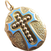 Baby blue enamel cross 15k gold double pendant locket antique Victorian c1860.