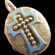Baby blue enamel cross 15k gold double pendant locket antique Victorian c1860.
