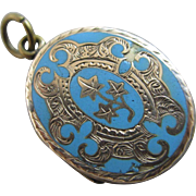 Baby blue enamel 15k gold mourning double pendant locket antique Victorian c1860.