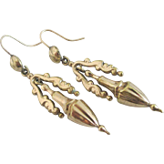 9k gold cased dangling ear pendant earrings antique Victorian c1880.