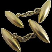 15k gold torpedo cufflinks antique Victorian c1890.