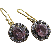 Alexandrite diamond paste 9k gold dangling ear pendant earrings antique Victorian c1890.