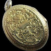 18k gold forget me not double pendant locket antique Victorian c1890.