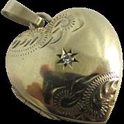 Diamond 9k gold heart double pendant locket vintage 1989 English hallmark.