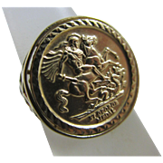 St George & dragon coin 9k gold ring vintage 2000 English hallmark.