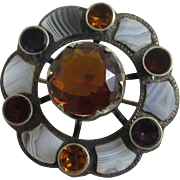 Montrose agate citrine amethyst paste sterling silver Scottish brooch pin antique Victorian c1860.