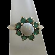 Fiery opal emerald 9k gold ring vintage c1980 English hallmark.