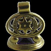 Amethyst paste 9k gold cased star pendant fob antique Victorian c1890.