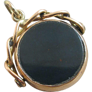 Double flip spinner 9k gold pendant fob antique Edwardian 1900 English hallmark.