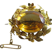 Citrine 18k gold forget me not brooch pin antique Victorian c1860.