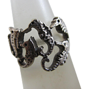 Sterling silver sea horse ring Vintage c1980.