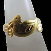 22k gold duck bird ring Vintage c1950.