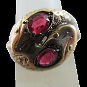 9k gold ruby paste snake ring antique Chester Edwardian 1915 English hallmark.