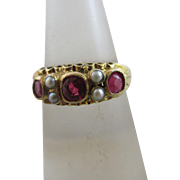Rare ruby seed pearl 12k gold ring antique Victorian 1873 English hallmark.