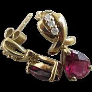 Ruby tourmaline diamond 9k gold pendant earrings vintage 2005 English hallmark.
