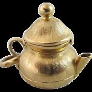 18k gold opening jug pot pendant charm Vintage c1970.