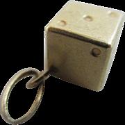 9k gold game dice pendant charm vintage 1979 English hallmark.