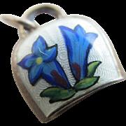 Enamel sterling silver edleweiss bell pendant charm Vintage c1950.