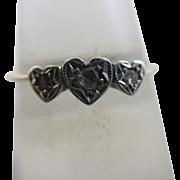 Diamond triple heart platinum 9k gold ring Vintage c1970.