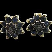 Diamond sapphire spinel 9k gold stud earrings Vintage c1980.