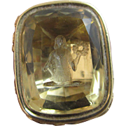 Intaglio citrine lady seal 18k gold pendant fob antique Victorian c1850.