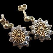 Faux diamond 9k gold dangling ear pendant earrings Vintage c1970.