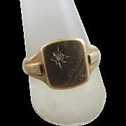 Faux diamond 9k gold ring vintage 1963 English hallmark.