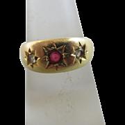 Ruby diamond paste 18k gold ring antique Victorian 1853 English hallmark.