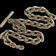 9k rolled gold double albert watch chain antique Victorian c1880.