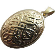 9k gold celtic twist cross pendant locket vintage c1980 English mark.