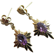 Amethyst 9k gold dangling ear pendant earrings Vintage c1980.