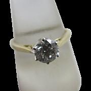 0.5 carat diamond 9k gold solitaire ring vintage c1970 English hallmark.
