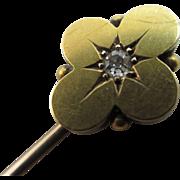 Diamond 15k gold stick pin brooch antique Victorian c1880.