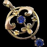 Sapphire paste 9k gold dangling pendant lavalier antique Victorian c1890.