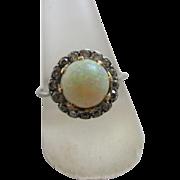 Fiery opal diamond 9k white gold ring vintage Art Deco c1920.