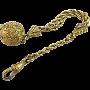 15k gold cased ball pendant charm albertina antique Victorian c1860.